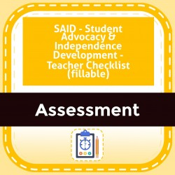 SAID - Student Advocacy & Independence Development - Teacher Checklist (fillable)