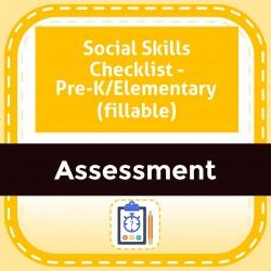 Social Skills Checklist - Pre-K/Elementary (fillable)