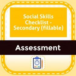 Social Skills Checklist - Secondary (fillable)