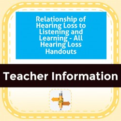 Relationship of Hearing Loss to Listening and Learning - All Hearing Loss Handouts