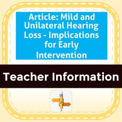 Article: Mild and Unilateral Hearing Loss - Implications for Early Intervention