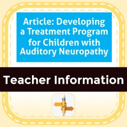 Article: Developing a Treatment Program for Children with Auditory Neuropathy