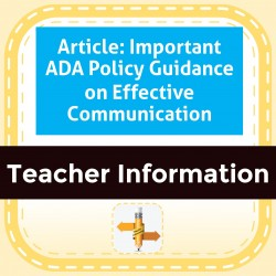 Article: Important ADA Policy Guidance on Effective Communication