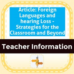 Article: Foreign Languages and hearing Loss - Strategies for the Classroom and Beyond