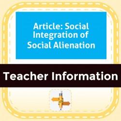 Article: Social Integration of Social Alienation